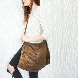 Vintage Brio Crinkle Leather Boho Bag